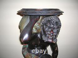 1800's Black Forest Polychromed Blackamore Carved Wood Pedestal-very Nice & Rare