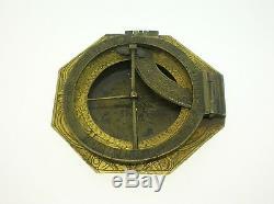 18th C. Continental Octagonal Brass Sundial/astrolabe 2 1/8 Nice & Rare-b/o