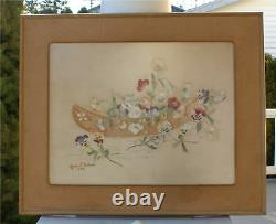 1904 Canoe Pansy Embroidery Framed Art Floral Rare Nice
