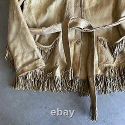 30s 40s 50s Buckskin Fringe Jacket Small NICE LEATHER JACKET RARE NATIVE