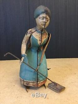 A Nice Rare Antique German Tinplate Wind Up Busy Lizzie Mopping Lady Toy C. 1900