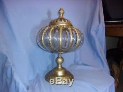 ANTIQUE- INDIA- vintage rare container blown glass into metal VERY NICE
