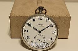 Antique Art Deco Nice Rare Model Swiss Open Face Pocket Watch Cyma Standard
