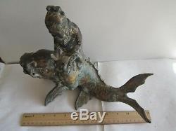 Antique Chinese Bronze Man Read On Fish10H x 9Tx12W(25x23x30 CM), So Nice, Rare