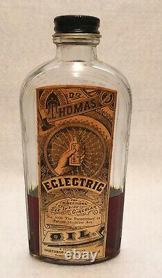 Antique Dr. Thomas Eclectric Oil Medicine Bottle With Box Rare Very Nice