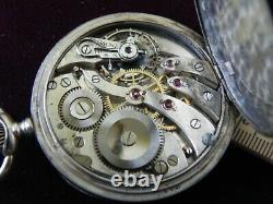 Antique Niello Silver Case Chromometre Postala Pocket watch, Nice Runs, Rare