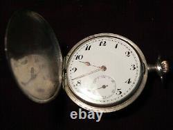 Antique Niello Silver Case Swiss Pocket watch, Nice Runs, Rare