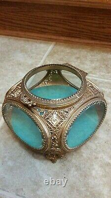 Antique Ormolu Glass Beveled Jewelry Casket. Really Nice. Rare To Find