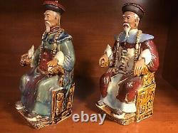 Antique Pr of 8 Chinese Mudman Rulers Sitting on Throne Incised CHINA Rare, Nice