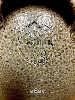 Antique RARE 3 Gallon JF Brower NC Stoneware JAR. (Masonic Stamp)Nice early Jar