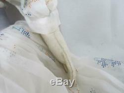 Antique Rare 18 Parian Bisque Blue Bonnet Doll Leather Hands Nice Clothes