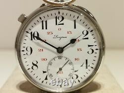 Antique Rare Nice Swiss Men's Pocket Railroad Watch Longines With Locomotive