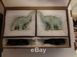 Antique Rare Pair of Super Nice Opaque Jade Green Elephants Hand Carved