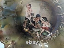 Antique Rare R S Prussia Porcelain Portrait Bowl Dice Throwers Nice Condition