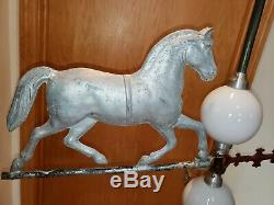 Antique Running Horse Weathervane, (RARE Directionals) & lightening balls. NICE
