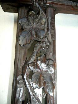Big Antique Nicely Carved Black Forest Carved Picture Frame Rare Design