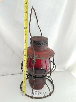 CHICAGO & ALOTN RAILROAD Lantern Red tall Globe C&A RR Rare Adlake nice antique
