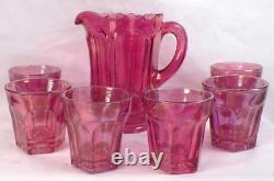 Childs Toy Water Set Galloway Blush Gold EAPG US Glass Antique 15071 Rare NICE
