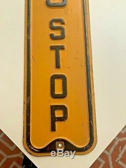 Early ORIGINAL Vintage BUS STOP SIGN antique rare NICE raised letters