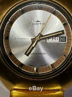 Fortis Automatic Space leader (Rare) original gold plated band Very Nice