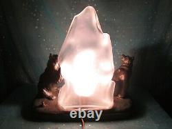 Large Antique RONSON Arctic POLAR Bears Lamp Rare & Nice
