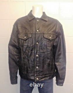 Levi Strauss & Co Vintage 100% Leather Trucker Jacket. Nice Rare Piece
