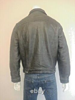 Levi Strauss & Co Vintage 100% Leather Trucker Jacket Nice Rare Piece