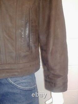 Levi Strauss & Co Vintage 100% Leather Trucker Jacket. Nice Rare Piece Large