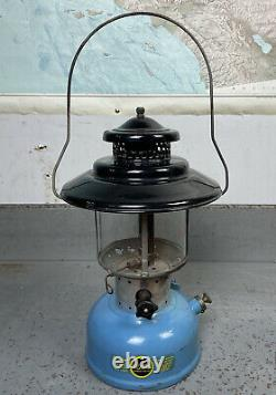 NICE Vintage Sears 4/65 Blue Black Gas Lantern ORIGINAL GLOBE Coleman Rare Vtg