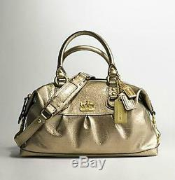 Nice Coach Small Madison Sabrina Antique Gold Patent Leather Tote Satchel Rare