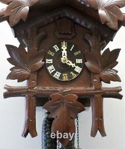 Nice German Rare Unusual Antique Eduard Herr Rustic Black Forest Cuckoo Clock