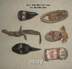 Nice Old African Art Toma Rare Custom Braid Red Mask Antique Loma Guinea Statue