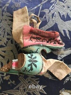Nice Pair of Rare Chinese Canton Style Lotus Shoes Very Small Antique Collector