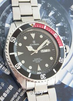 Nice & Rare Cyma Water Resist 100m. Quartz Diver Swiss Made Gent Size Watch