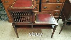 Nice Rare Vintage Antique Mid Century Two Tier Leather Top Mahogany Step tables