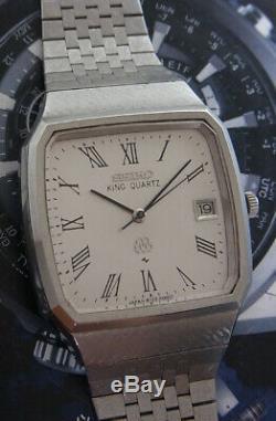 Nice & Rare Vintage Seiko King Quartz Roman Dial 9722-5000 Japan Made Watch