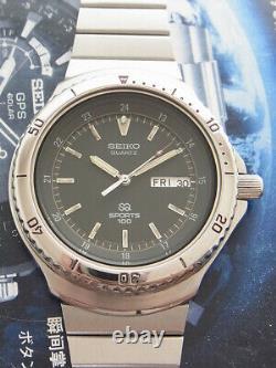 Nice & Rare Vintage Seiko Quartz Sports 100 Model 8123-6040 Japan 43.5 MM Watch