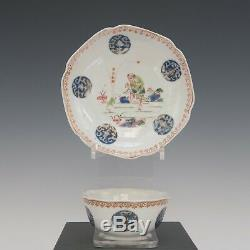 Nice rare Chinese Famille rose cup & saucer, 3 legged frog spit coins, Yongzheng