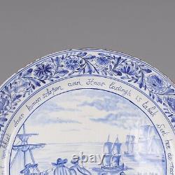 Nice rare Dutch Delft blue charger, tobacco trade, 19th century
