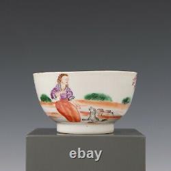 Nice rare set of 4 Chinese mandarin porcelain tea bowls, Dutch couple, 18th ct