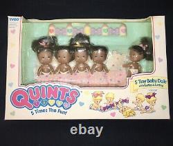 QUINTS 1989 NOS 5 Tiny Baby Dolls NEW NICE Black Tyco Set #1554 VHTF OOP RARE
