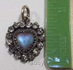RARE 1880s Antique Victorian Saphiret Glass Heart Brass Fob Charm Pendant NICE