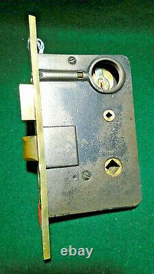 RARE 1890's CLINTON LOCK CO ENTRY LOCK withCYLINDER & KEY 8 1/8 FACE NICE (11831)