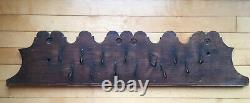 RARE! ANTIQUE 18th C LARGE IRON HOOK FOWL RACK GAME RACK WOODEN BOARD NICE
