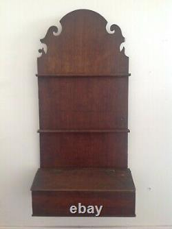 RARE ANTIQUE CHIPPENDALE HANGING SPOON RACK WALL SALT BOX NICE PROPORTION 18th C