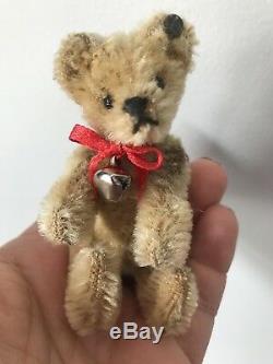 RARE ANTIQUE Circa 1910 Steiff 3.75 Miniature Bear OLD FF BUTTON LOOK NICE NR