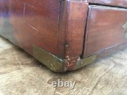 RARE! Antique 19th C Solid Mahogany Traveling Lap Desk Writing Box With Key Nice