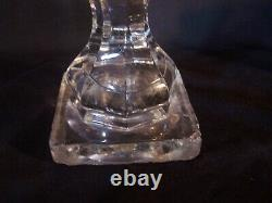 RARE Antique Sandwich Pattern Glass WHALE OIL LAMP withFont Heavy! Very OLD! Nice