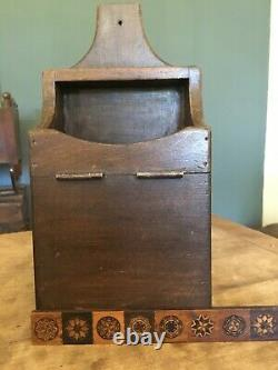 RARE! Antique Solid Walnut Wall Box & 27 Voting Marbles Ballot Collecting Nice