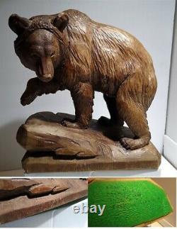 RARE Brienz Sculpture Fritz Abplanalp Wooden BEAR Glass Eyes Switzerland NICE